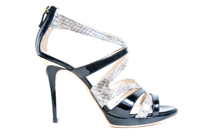 Dyva snake skin and patent heel
