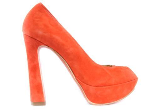 coral suede peep toe pump