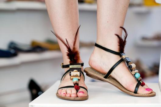 Chocola feathered sandals