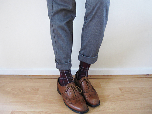 printed socks and brogues