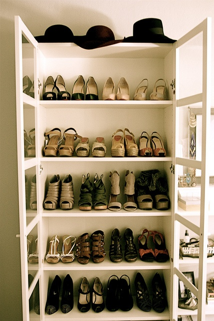 organised shoes bookcase with glass windows
