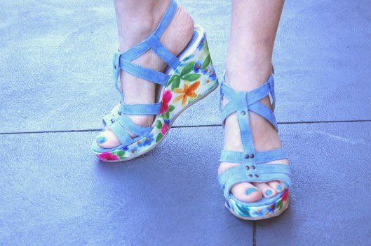 blue floral wedges close