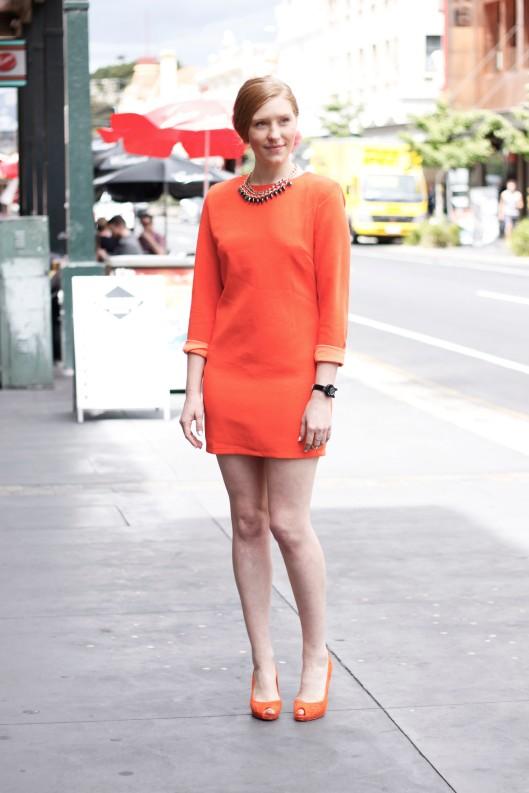orange dress orange heels