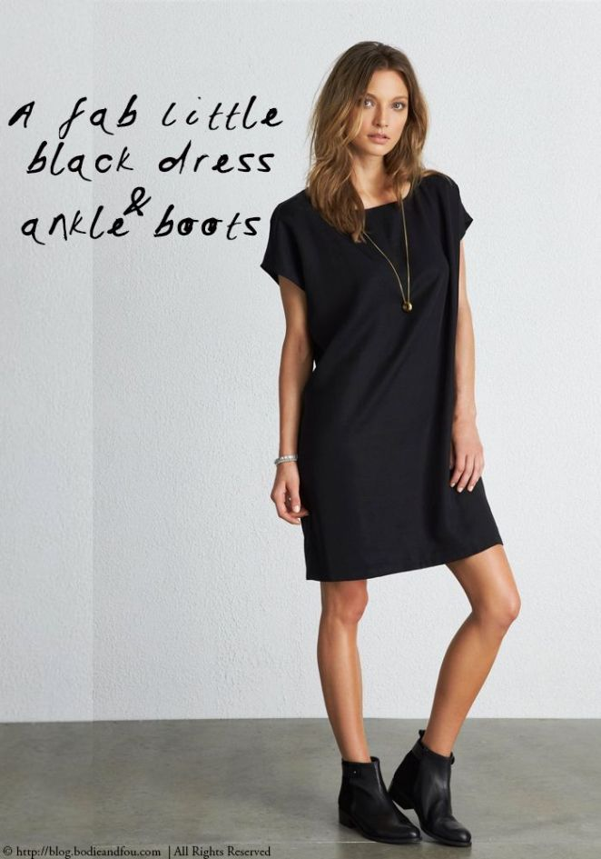 black t-shirt dress and ankle boots