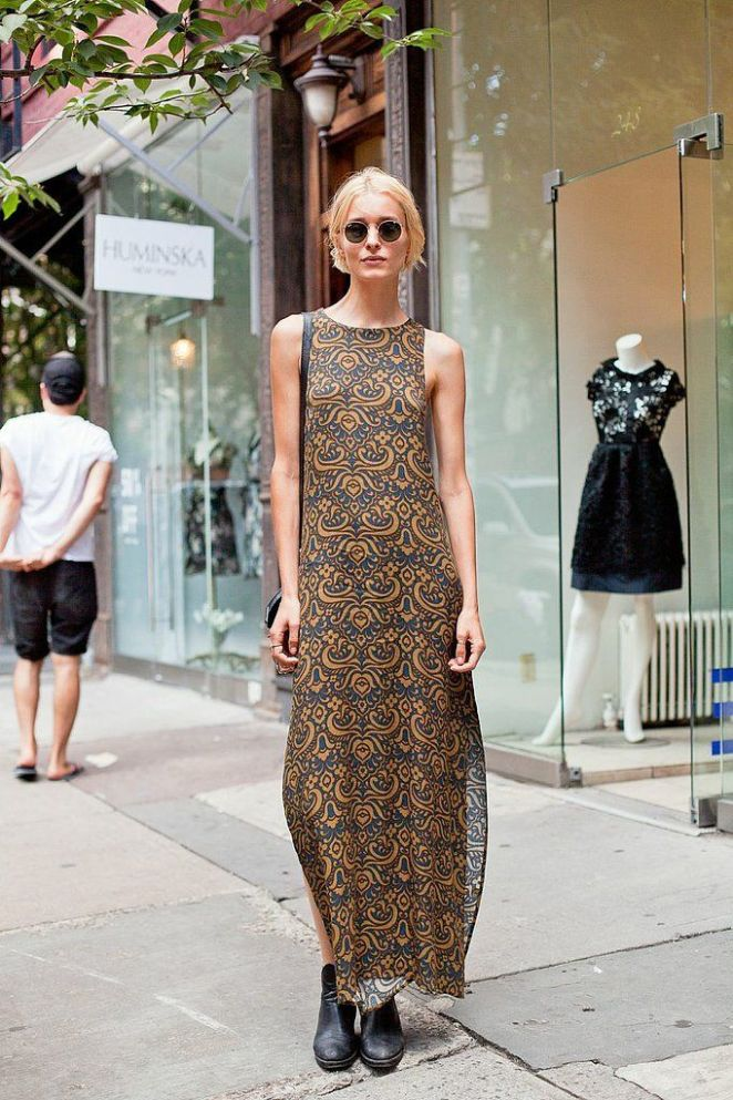 maxi dress and ankle boots